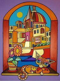 Katze, Valletta, Malta, Malerei