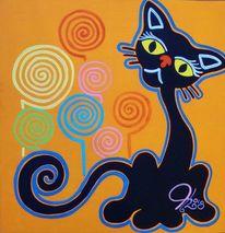 Farben, Katze, Blumen, Malerei