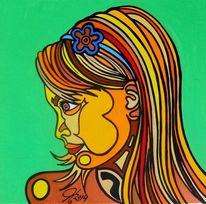 Mädchen, Schwestern, Malerei, Tochter