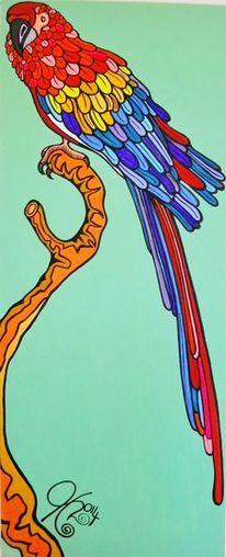 Vogel, Bunt, Papagei, Malerei