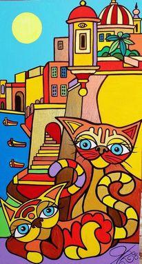 Malta, Senglea, Katze, Malerei