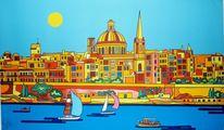 Yachthafen, Malta, Valletta, Malerei