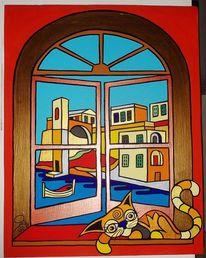 Kalkara, Malta, Katze, Malerei