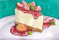 Illustration, Essen, Kuchen, Erdbeeren