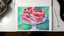 Kuchen, Illustartion, Aquarellmalerei, Aquarell