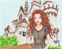 Comic, Mittelalter, Hexe, Burg