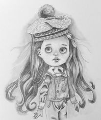 Skizzenbuch, Bleistiftzeichnung, Puppe, Malerei