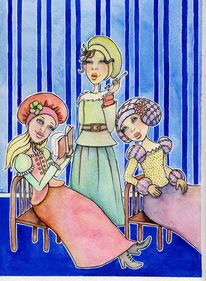 Frau, Schwätzen, Illustration, Aquarell
