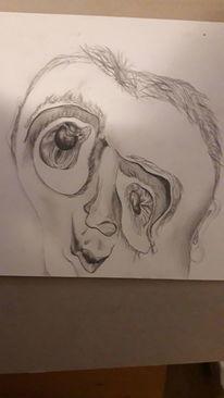 Zerfließen, Bleistiftzeichnung, Surreal, Gesicht
