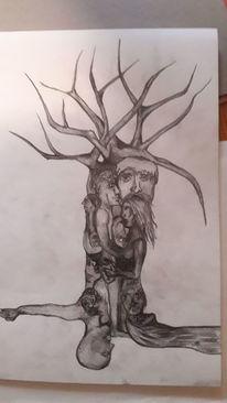 Gesicht, Suchbild, Fantasie, Zeichnung