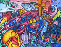 Herz, Lipen, Aquarellmalerei, Schutzengel