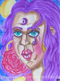 Aquarellmalerei, Lila, Ohrringe, Frau