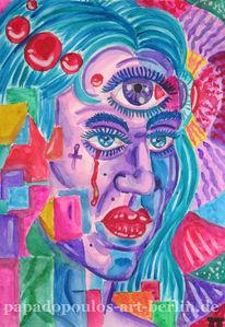 Frau, Bunt, Augen, Fantasie