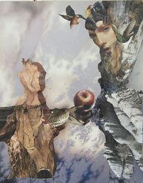 Mann, Baum vogel, Frau, Apfel