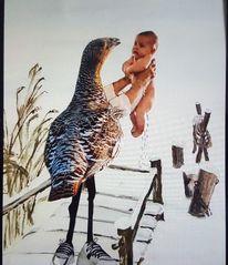 Winter, Baby, Vogel, Mischtechnik