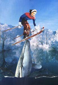 Winter, Berge, Fisch, See