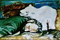 Korb, Eisbär, Pfleger, Sand