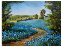 Zart, Stille, Blaue blüten, Heile welt