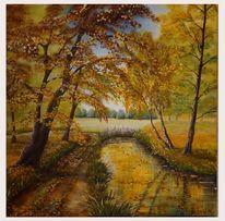 Laub, Acrylmalerei, Blätter, Weg
