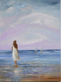 Mädchen, Lila, Meer, Segelschiff