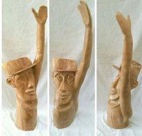 Gespalten, Skulptur, Selbstportrait, Apfel