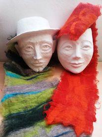 Filz, Skulptur, Sofamasken, Gips