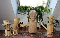 Birken, Arm, Holzfiguren, Robinie