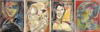 Seitenblicke, Ölmalerei, Pastellmalerei, Kohlezeichnung