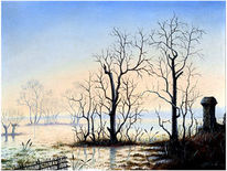 Natur, Einsamkeit, Landschaft, Malerei