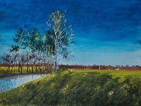 Baum, Abend, Weite, Birken