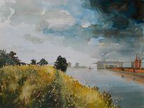 Fluss, Weg, Landschaft, Wolken