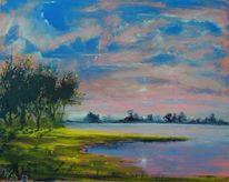 Abend, Wolken, Landschaft, See