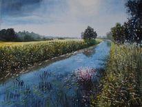 Fluss, Gras, Bewässerungsgraben, Baum