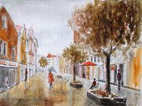 Fußgängerzone, Menschen, Regen, Baum
