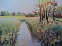 Fluss, Landschaft, Abend, Goldbach