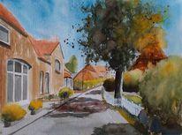 Haus, Dorfstraße, Dorf, Baum