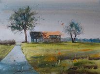 Landschaft gebäude hof, Aquarell, Malerei, Gehöft