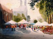 Kirche, Sonnenschirme, Markt, Stadt