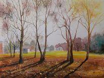 Baum, Herbst, Waldrand, Gehöft