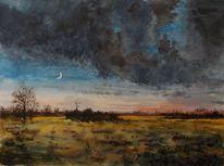 Weite, Landschaft, Abend, Wiese