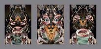 Gesicht, Surreal, Tryptichon, Digitale kunst