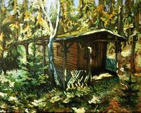 Plenair, Wald, Studie, Hütte