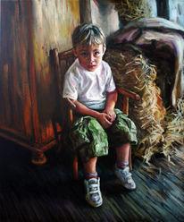 Bayer, Kind, Ölmalerei, Bauernhof