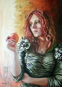 Fenster, Mädchen, Licht, Apfel