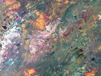 Acrylmalerei, Türkis, Abstrakt, Silber