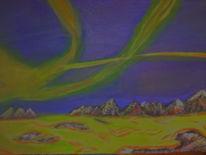 Licht, Acrylmalerei, Nordlicht, Landschaft
