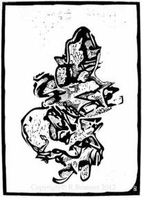 Incisione su linoleum, Der besessene, Linolschnitt, Hochdruck