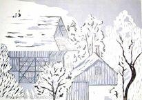 Linol, Druckgrafik, Incisione su linoleum, Farbdruck
