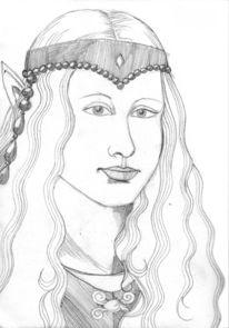 Elfen, Bleistiftzeichnung, Charakterportrait, Portrait