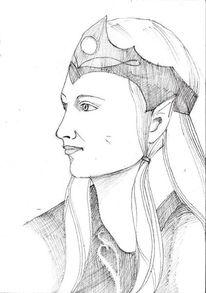 Charakterportrait, Elbe, Bleistiftzeichnung, Charakter